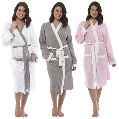 46c6a66873 Ladies Lightweight Summer Waffle Bath Robe 100% Cotton Dressing Gown House  Coat