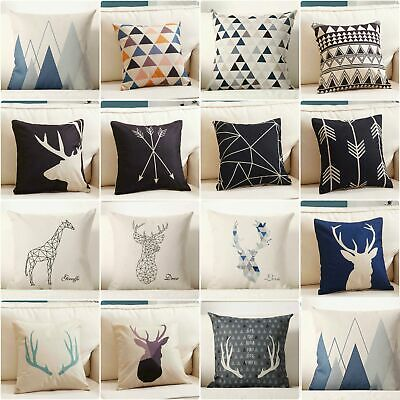 Decor Pillow Case Home Linen Geometry Deer Nordic Throw Cotton Cover Cushion 15""