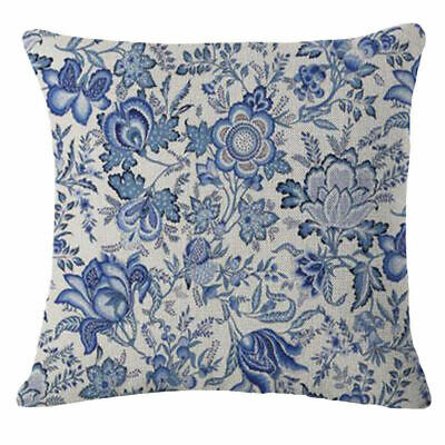 18''  Pillow Cotton Decor flowers Blue Throw Case Cover Vintage Cushion Linen