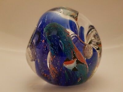 Vintage Large Murano Style Tropical Fish  Aquarium Paperweight Art Studio Glass