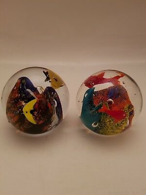 Vintage Pair of Murano Style Tropical Fish  Aquarium Paperweight Art Glass