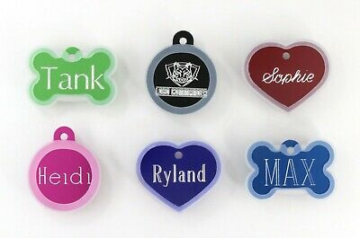 LARGE Pet ID Tag With Silencer Custom Engraved Up to 4 Lines Per Side, Dog, Cat