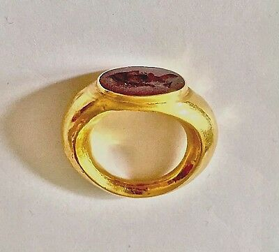 Hellenistic Gold Finger Ring with Carnelian Intaglio Circa 1st-3rd Century AD.