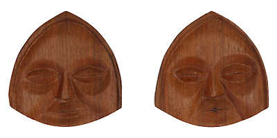 2 x unusual wooden wall plaques Faces Hand carved Treen