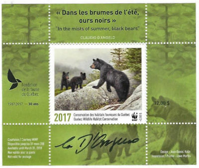 2017 Canada Quebec Wildlife Conservation WWF  -DQ86s overprint  signed   Mint NH
