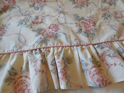 Vintage Single Shabby Pink Roses and Ribbons King Size Percale Pillowcase