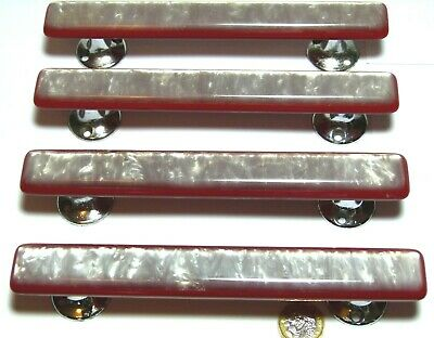 SET X 4 VINTAGE ART DECO STYLE RED & PEARL LUCITE & CHROME PULL HANDLES 1950s