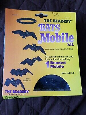 The Beadery Bats Mobile Kit Vintage 1988 New Complete beaded Mobile Halloween