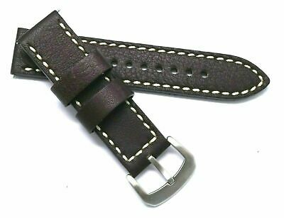 22mm Brown Leather White Stitched Watch Replacem Strap - Citizen Eco-Drive Mens