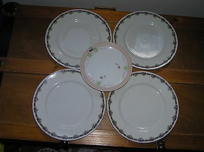 Vintage Lot of 4 Germany White w Purple Violet Pansy Rimmed Lunch Dessert Plates