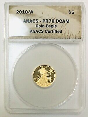 2010 West Point American Gold Eagle Proof 1/10 oz $5 ANACS PR70 Deep Cameo Coin
