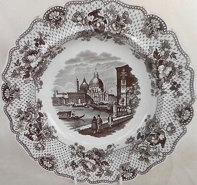 """Antique W. Ridgway Large Soup Plate - """"a View In Venice"""" Italian Series - C.1830"""