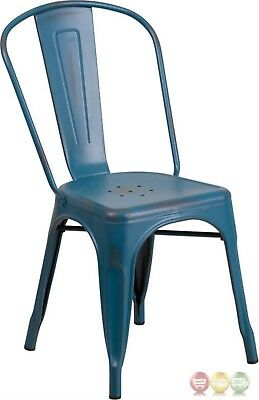 Distressed Kelly Blue Metal Indoor-Outdoor Stackable Chair Commercial Use
