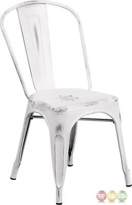 Distressed White Metal Indoor-Outdoor Stackable Chair Commercial Use Rated