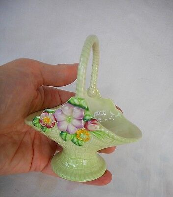 Carlton Ware Small Basket Decorated With Summer Flowers - Australian Design