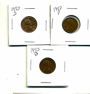1952 P,d,s Wheat Pennies Lincoln Cents Circulated 2X2 Flips 3 Coin Pds Set#432