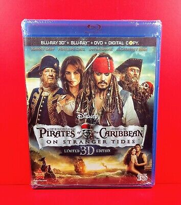 Pirates of the Caribbean On Stranger Tides (3D 2D Blu-ray/DVD, 2011, 5-Disc) NEW