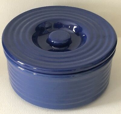 """Vintage Bauer Pottery Deep Dark Blue Rings Ringware 6"""" Canister Jar Box with Lid"""