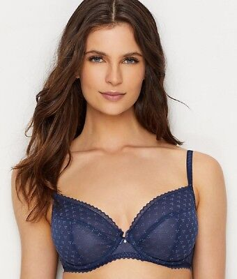 57ee261dfd NWT  78 Chantelle Courcelles Lace Convertible Plunge Bra  6791 Navy Blue  36DDDD