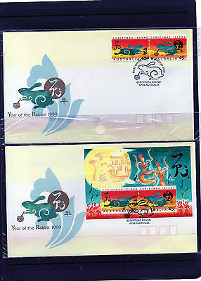 1999 Christmas Island Year of The Rabbit set of 2 First Day Covers Excellent