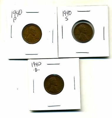 1940 P,d,s Wheat Pennies Lincoln Cents Circulated 2X2 Flips 3 Coin Pds Set#831