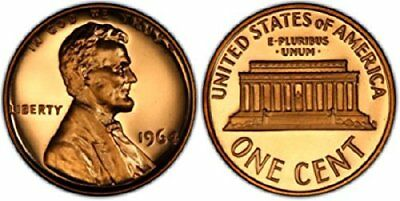 1964 GEM BU PROOF Lincoln Memorial BRILLIANT UNCIRCULATED PENNY US COIN PF