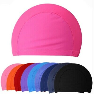 UK Free Size Unisex Adult Swimming Cap Hat Mens Womens Pool Sea Spandex Fabric