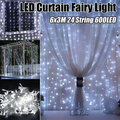 Unique LED Fairy String Hanging Icicle Snowing Curtain Light Wedding Xmas Party