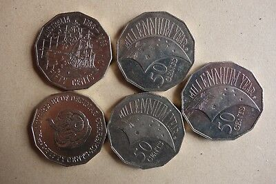 Australian  50 cent coins,1991 rams head,1988 tall ships,200 millennium year.