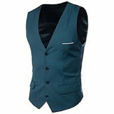 MAGE MALE Men's Suit Vest V-Neck Lapel Business Dress Waistcoat SIZE XL New