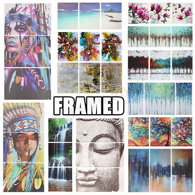 3 Pcs Set Oil Canvas Printed Paintings Pictures Home Wall Art Decorations Framed