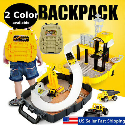 Track Car Parking Lot Set Backpack Racing Game Vehicle Construction Children Toy