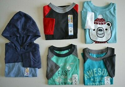 NEW Lot Of 5 Toddler Boys (18mo-3T) Long Sleeve Cotton Shirts-Jumping Beans etc