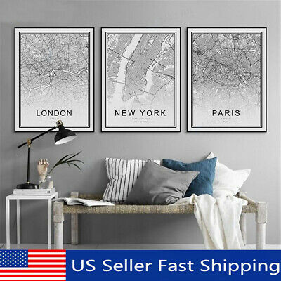 World City Map Abstract Poster Nordic Art Prints Canvas Painting Wall Decor US