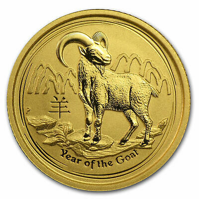 2015 Australia 1/10 oz Gold Lunar Year of The Goat BU Coin .9999 The Perth Mint