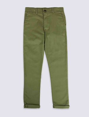 Marks and Spencer Additional Length Chinos Green Age 8-9 BNWT