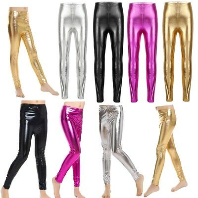 Girls Metallic Stretchy Leggings Shiny Pants Party Skinny Dance Trousers Costume