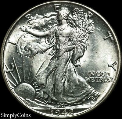 1942 Walking Liberty Silver Half Dollar ~ BU Uncirculated ~ SKU-645