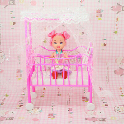 Plastic Baby Bed Miniature Dollhouse Toy Bedroom Furniture Doll