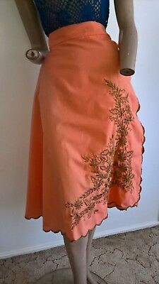 Vintage 1970's  hippy festival embroidered floral wrap skirt sarong Size S-M