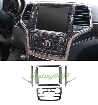 ABS Carbon Fiber GPS Navigation Panel Cover Trim For Jeep Grand Cherokee 14-2017