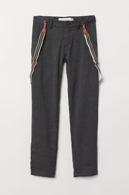 H&M Trousers with Braces Dark Grey/Checked BNWT Size 2-3 Years