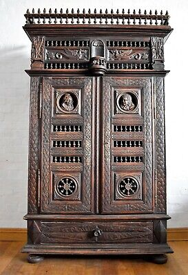 Antique heavily carved kitchen larder - hall cupboard - large double cabinet