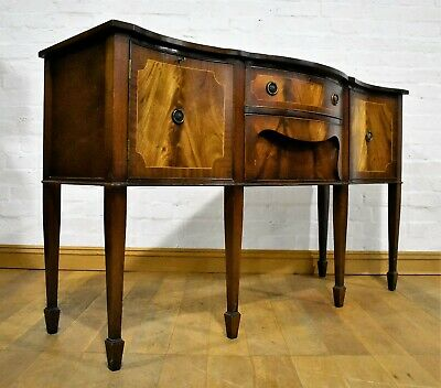 Antique style serpentine mahogany sideboard - side cabinet