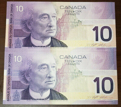Bank Of Canada Lot Of 2 In A Row 10 Dollars 2001 Bc63A - Unc