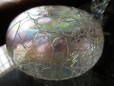 Anton Intaglio Art Glass Paperweight Iridescent Threaded Clear signed