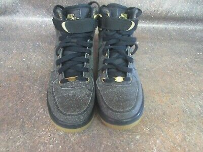 new style 23394 417d8 Nike Air Force One 1 High LV8 GS Black Gold Gum 807617-007 Size 6Y