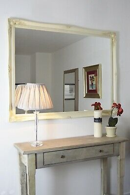Large Wall Mirror Ivory Cream Vintage Style Rectangle 4Ft6 X 3Ft6 137cm X 106cm