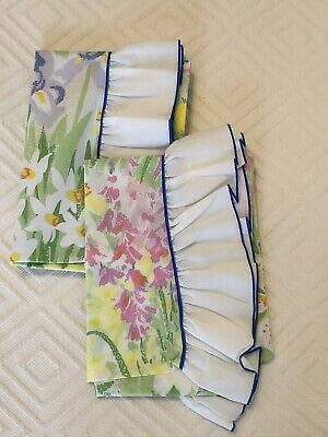 Vintage 1970's Ruffled Edge Bright Watercolor Floral Pillowcases Flowers EUC