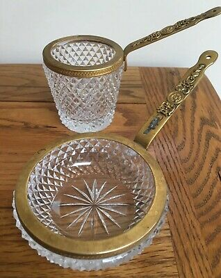 Vintage French Cut Crystal? Glass With Decorative Brass Handled Ashtray -Holder
